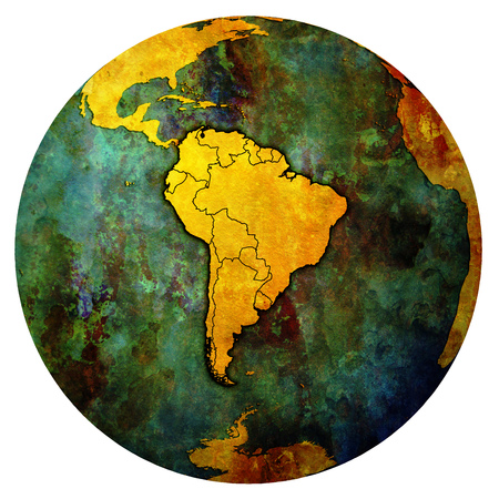 political borders of south american countries on map of globe