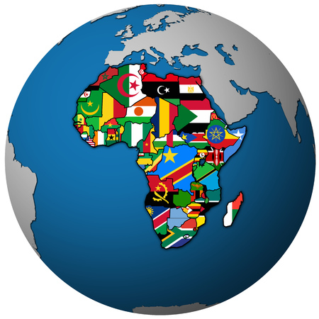 globe map with political map of african union member countries with national borders and flags