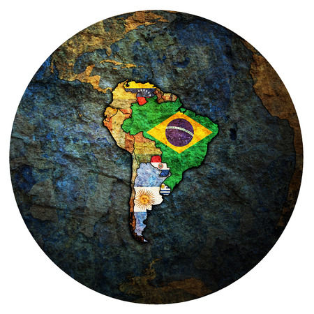 flags of member countries of Mercosur officially called Southern Common Market on political map of globe