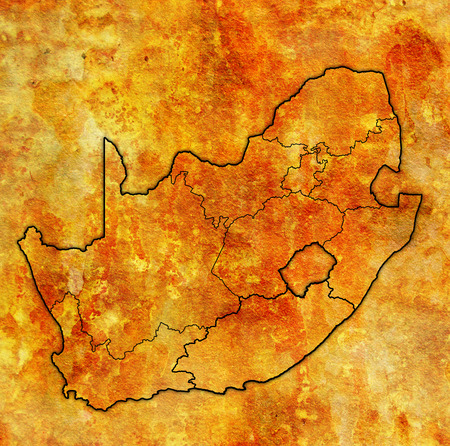 outlines of regions on map with administrative divisions and borders of south africa