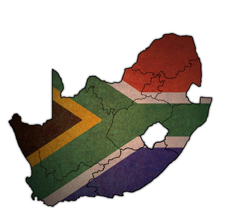 national flag over territories of regions on map with administrative divisions and borders of south africa Imagens