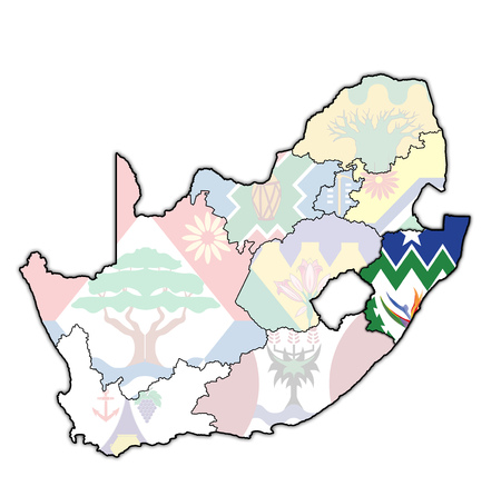 emblem of Kwazulu natal region on map with administrative divisions and borders of south africa