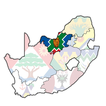 emblem of Northwest region on map with administrative divisions and borders of south africa Zdjęcie Seryjne