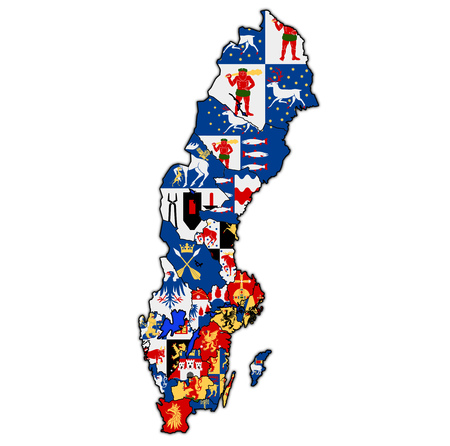 coat of arms of swedish counties on map of administrative divisions of Sweden with clipping path