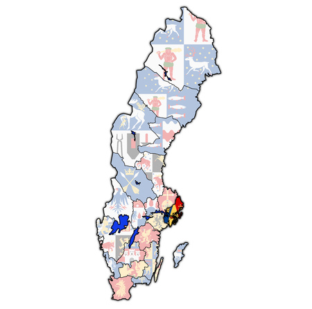 flag of Stockholm county on map of administrative divisions of Sweden with clipping path