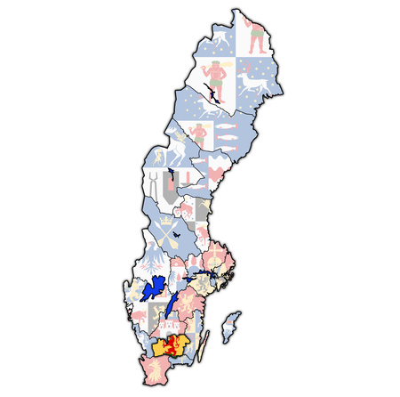 flag of Kronoberg county on map of administrative divisions of Sweden