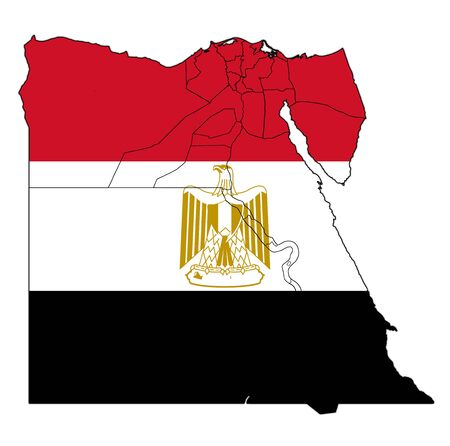 territories and of egyptian governorates on map of administrative divisions with flag of egypt Imagens