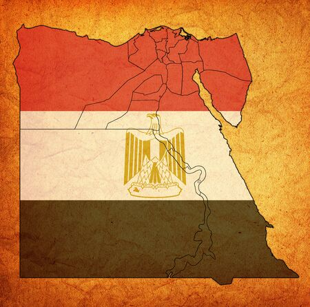 territories and of egyptian governorates on map of administrative divisions with flag of egypt 版權商用圖片 - 129348410