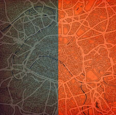 flag of Paris over map of roads in the city