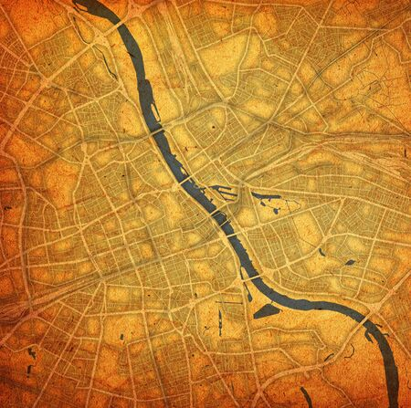 vintage style map of roads in city of Warsaw in Poland