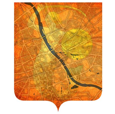 coat of arms over vintage style map of roads in city of Warsaw in Poland