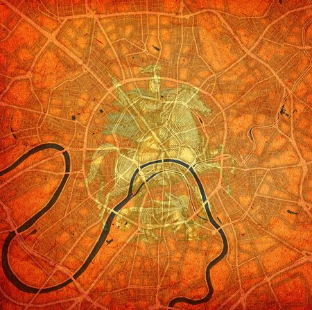 coat of arms over vintage style map of roads in city of Moscow in Russia
