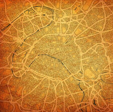 vintage style map of roads in city of Paris