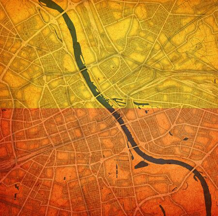 flag over vintage style map of roads in city of Warsaw in Poland Stockfoto