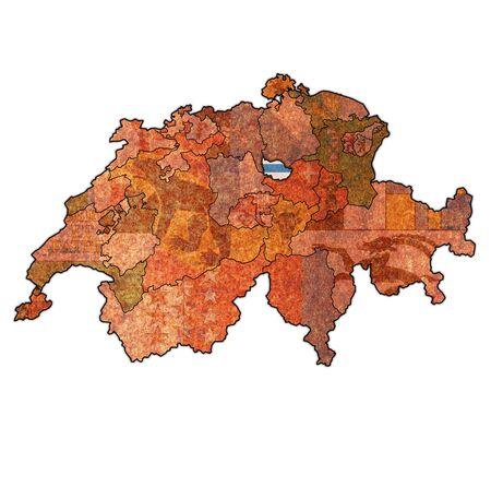 flag of Zug canton on map of switzerland