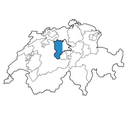 flag and territory of Luzern canton on map of administrative divisions of switzerland