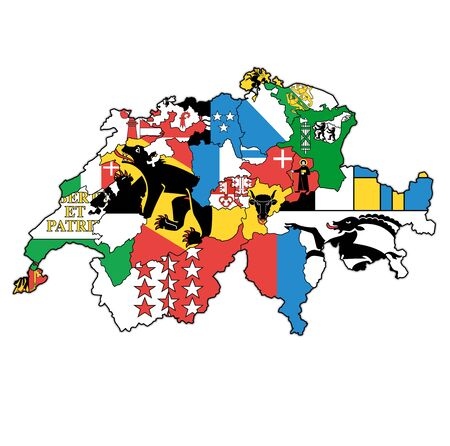 flags and territories of cantons on map of administrative divisions of switzerland