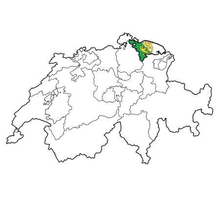 flag and territory of Thurgau canton on map of administrative divisions of switzerland