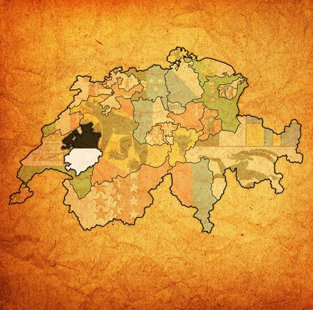 flag and territory of Freiburg canton on map of administrative divisions of switzerland 스톡 콘텐츠