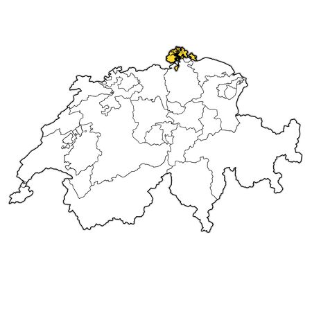 flag and territory of Schaffhausen canton on map of administrative divisions of switzerland
