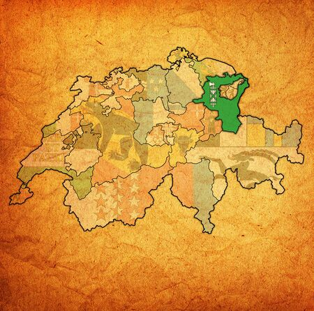 flag and territory of St Gallen canton on map of administrative divisions of switzerland 스톡 콘텐츠