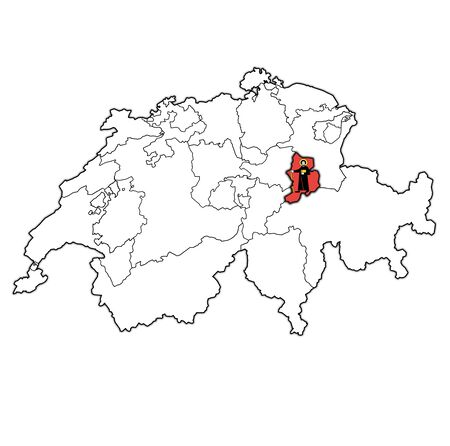 flag and territory of Glarus canton on map of administrative divisions of switzerland 스톡 콘텐츠