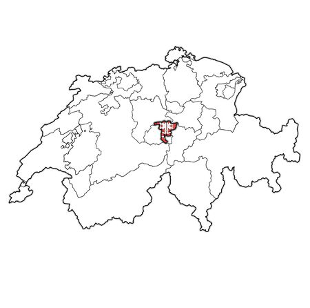 flag and territory of Nidwalden canton on map of administrative divisions of switzerland