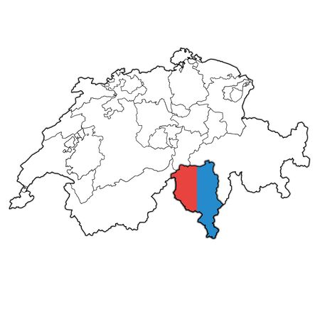 flag and territory of Tessin canton on map of administrative divisions of switzerland 스톡 콘텐츠