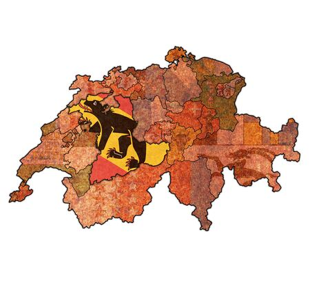 flag and territory of Bern canton on map of administrative divisions of switzerland
