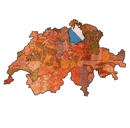 flag and territory of Zurich canton on map of administrative divisions of switzerland 스톡 콘텐츠