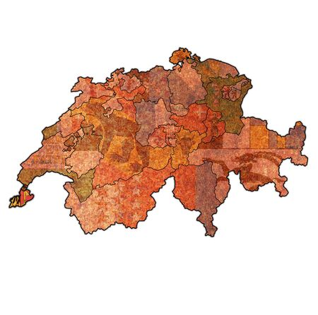 flag and territory of Geneva canton on map of administrative divisions of switzerland