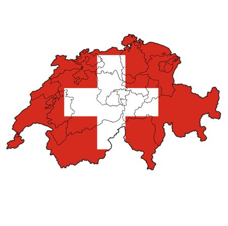 territories of cantons on map of administrative divisions covered with flag of switzerland