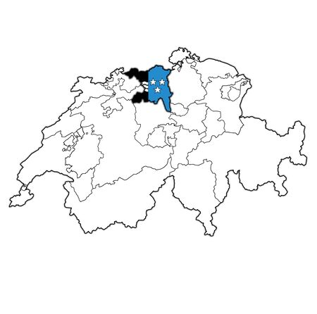 flag and territory of Aargau canton on map of administrative divisions of switzerland 스톡 콘텐츠