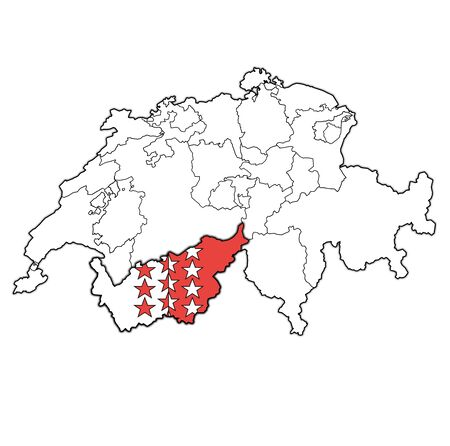 flag and territory of Wallis canton on map of administrative divisions of switzerland