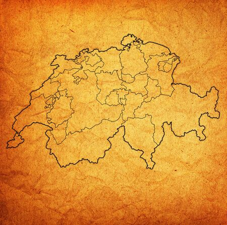 territories of cantons on map of administrative divisions of switzerland