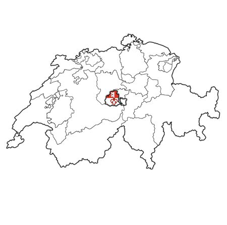 flag and territory of Obwalden canton on map of administrative divisions of switzerland 스톡 콘텐츠