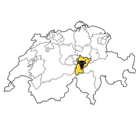 flag and territory of Uri canton on map of administrative divisions of switzerland