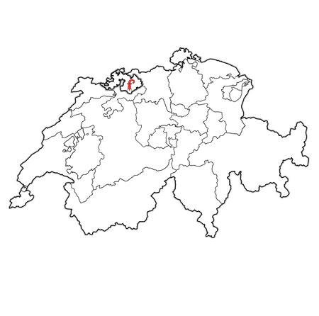 flag and territory of Basel-Landschaft canton on map of administrative divisions of switzerland