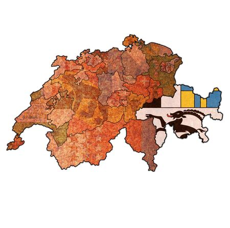 flag and territory of Grisons canton on map of administrative divisions of switzerland