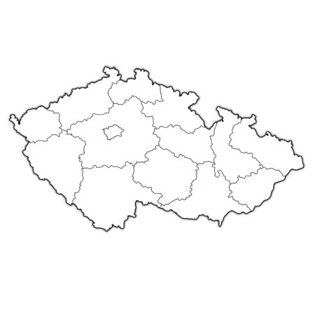 territories of regions on map with administrative divisions and borders of Czech Republic with clipping path