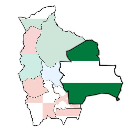 territory and flag of Santa Cruz region on map with administrative divisions and borders of Bolivia Stock Photo