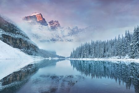Moraine Lake in Banff National Park, Alberta, Canada. Beautiful background photo Christmas atmosphere, Happy new year
