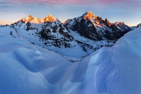 Mont Blanc massif and his melting glaciers. Winter adventures in the French Alps. Courmayeur dating in Aosta Valley. Italy Val Veny, and ski slopes of Courmayeur ski domain. Happy New Year