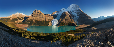 Mount Robson is the most prominent mountain in North America's Rocky Mountain range; it is also the highest point in the Canadian Rockies. Located in Mount Robson Provincial Park of British Columbia.