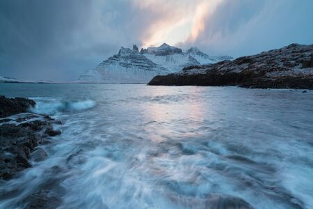 Amazing Sunset Over Mountain And Fjord, Winter Landscape, Norway Beautiful Christmas time near Troms.