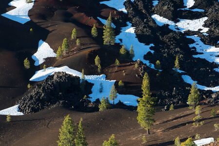 Painted Dunes seen from the top of the Cinder Cone in Lassen Volcanic National Park, on a sunny day