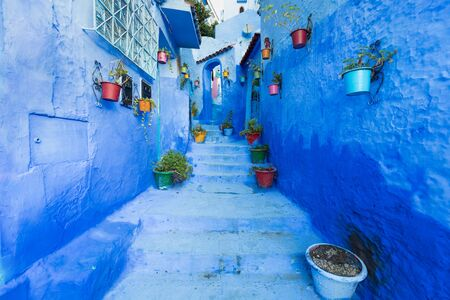 Traditional and typical moroccan architectural details in Chefchaouen, Morocco Africa Nice doors, windows