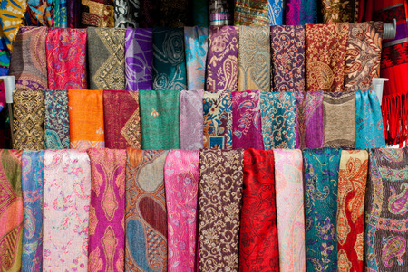 Colorful pashmina scarves in Mostar, Bosnia and Herzegovina