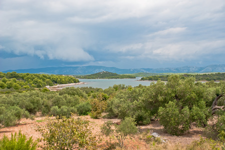 murter: Islands with dramatic cloudy sky. Murter, Croatia