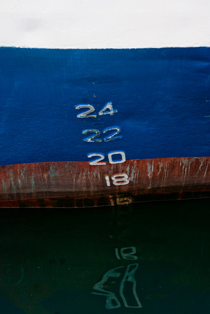 18 20: Photo of depth markers on the industrial ship